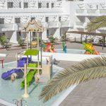 Savia proyectos lanzarote-aequora-suites parque acuático infantil temática marina cascada caracolas vista frontal