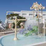 Savia proyectos lanzarote-aequora-suites parque acuático infantil con cascada desde barril y conchas y toboganes verde y lila en hotel