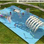 Savia proyectos Aquamarina resort opción 1 proyecto piscina infantil zona splash con túnel de huesos y chorros niños jugando