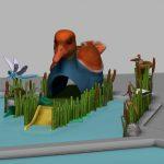 Savia proyectos proyecto piscina infantil túnel y tobogán con forma de pato