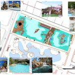 Savia proyectos proyecto parque acuático infantil vista aérea con fotos de detalles sobre cascadas tobogán de pulpo y piscinas infantiles