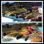 Savia proyectos parque acuático toboganes multicolor sobre césped