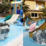 Savia proyectos hoteles_campings reparación parque infantil barco en rocas y toboganes