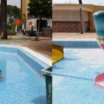 Savia proyectos hoteles_campings reparación tobogán infantil tiburón parque acuático