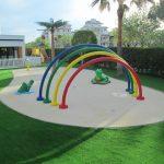 Savia proyectos miniclub arcos multicolor con rana y cocodrilo slpash area
