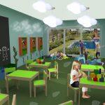 Savia proyectos proyecto miniclub moderno temática natural lámparas nube juegos contrucción madera reciclaje y pizarra pared grande