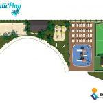 Savia proyectos waikiki proyecto campo fútbol zona multideporte con parque acuático hamacas parque infantil caseta y pistas vista aire