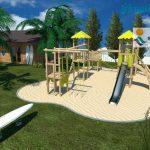 Savia proyectos waikiki proyecto parque infantil arena con madera y caseta surf