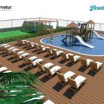 Savia proyectos waikiki proyecto parque acuático con hamacas y campo fútbol multideporte vista derecha