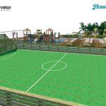 Savia proyectos waikiki proyecto campo fútbol zona multideporte con parque acuático y hamacas vista izquierda