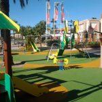 Savia proyectos parque infantil pavimento seguro pasarela torre y tobogán Ayto San Antoni de Portmany balancín