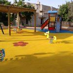 Savia proyectos parque infantil pavimento seguro columpios Ayto Palmanyola porche torre con pasarela balancín