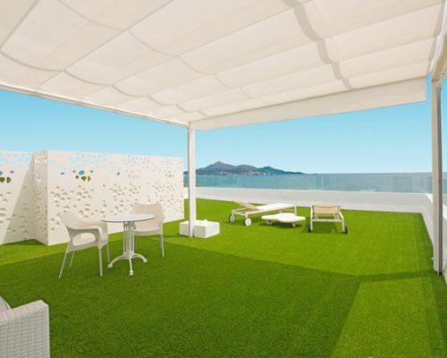 Savia proyectos césped artificial terraza vista mar